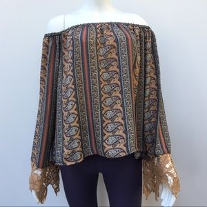Off-the-Shoulder Structured Top Tan Paisley Stripe